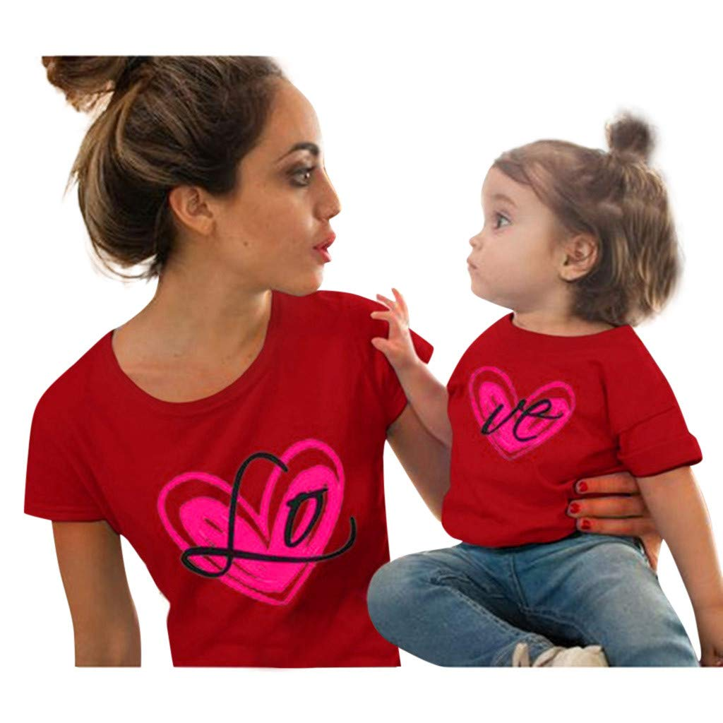 Mommy and Me, Love Print Short Sleeve Mother Daughter Matching T-Shirt Tops for Mother's Day (2-3 Years, Red)
