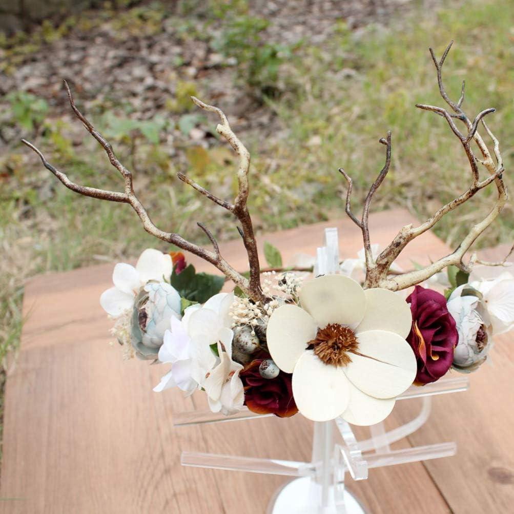 Lurrose diadema de flores corona de asta de ciervo diadema de corona de flores para ni/ñas nupciales mujeres boda fiesta de cumplea/ños accesorios para el cabello accesorios