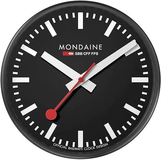 Mondaine Wall Clock Orologio Da Parete Nero per Soggiorno e Cucina, A990.CLOCK.64SBB, 25 CM.