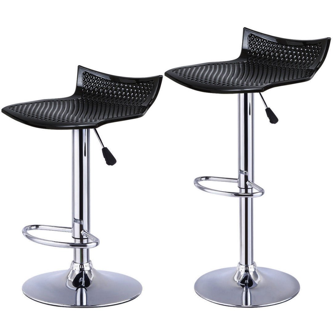 Contemporary High-Gloss ABS Seat Bar stool Adjustable Height 360 Degree Swivel Solid Polished Wood Seat Stable Footrest Chrome Steel Frame Office Pub Chair New Black - Set of 2#1227b