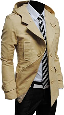 Oberora-Men Single Breasted Trench Coat Hooded Wool Outwear Coats