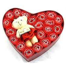 TiTa-Dong 19PCS Favor Flower Heart Rose With Bear Petal Soap Wedding Decor Birthday Gift Box Red