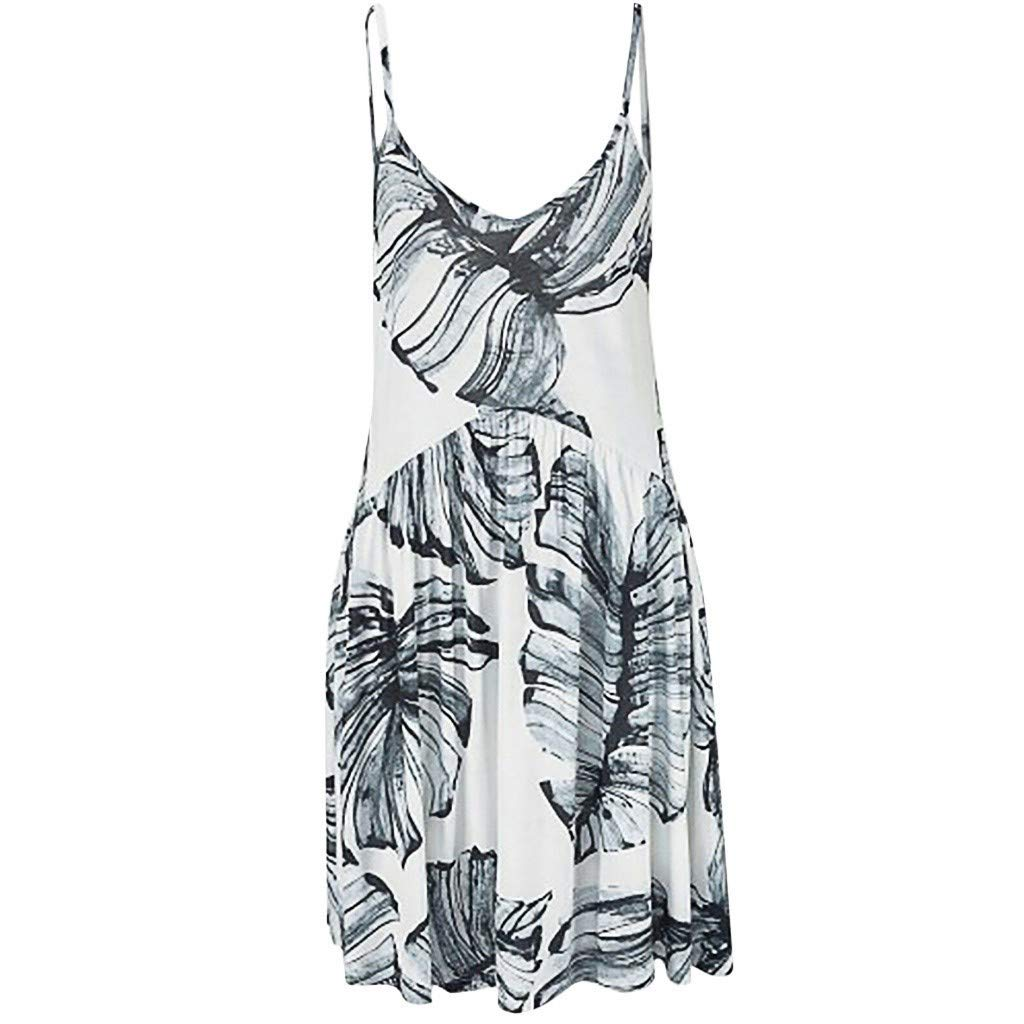 Clothful  Women Dress, Fashion Womens Camisole V-Neck Leaf Printing Sleeveless Mini Dress Gray by Clothful (Image #2)