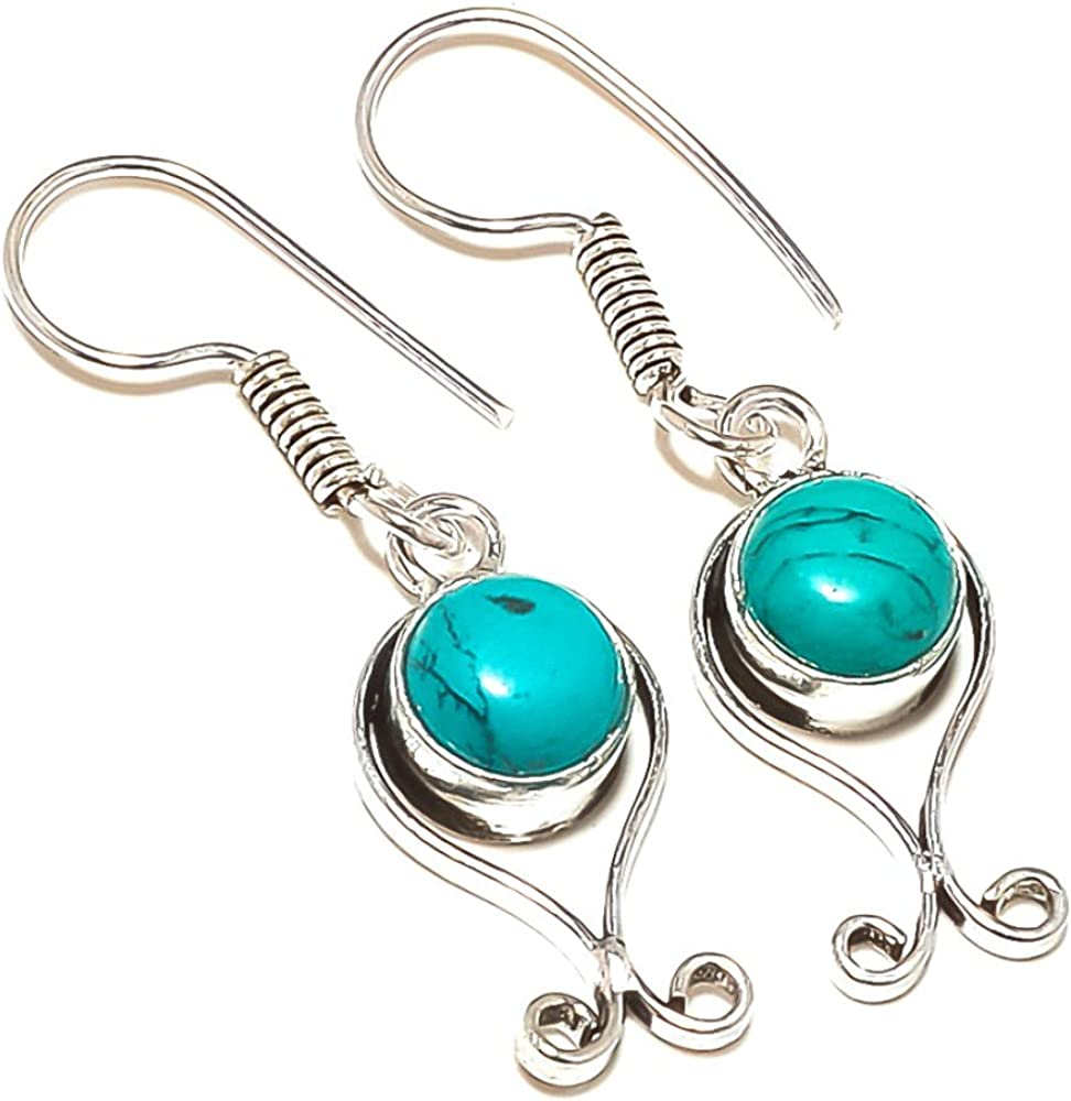 Delicate Blue Tibetian Turquoise Sterling Silver Overlay Earring 1.5 Handmade Jewelry