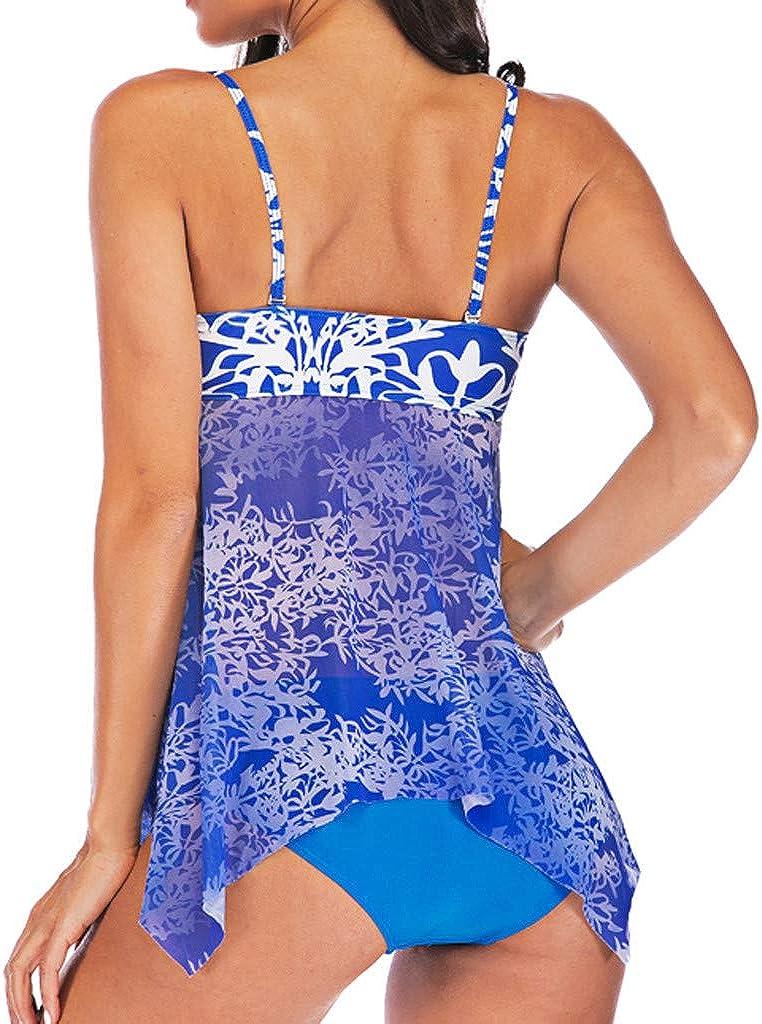 Lavany Womens Swimsuit Spaghetti Strap Padded Tops Swimwear with Low Waist Bottom