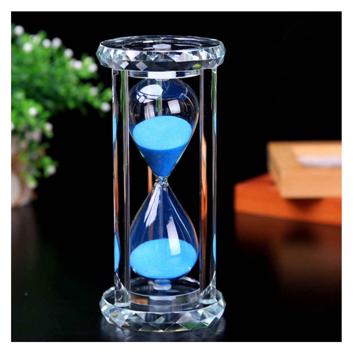 Purple,Crystal,30 Minutes SZAT Hourglass Sand Timer Clock Romantic Mantel Office Desk Coffee Table Book Shelf Curio Cabinet Christmas Birthday Present Gift Box Package