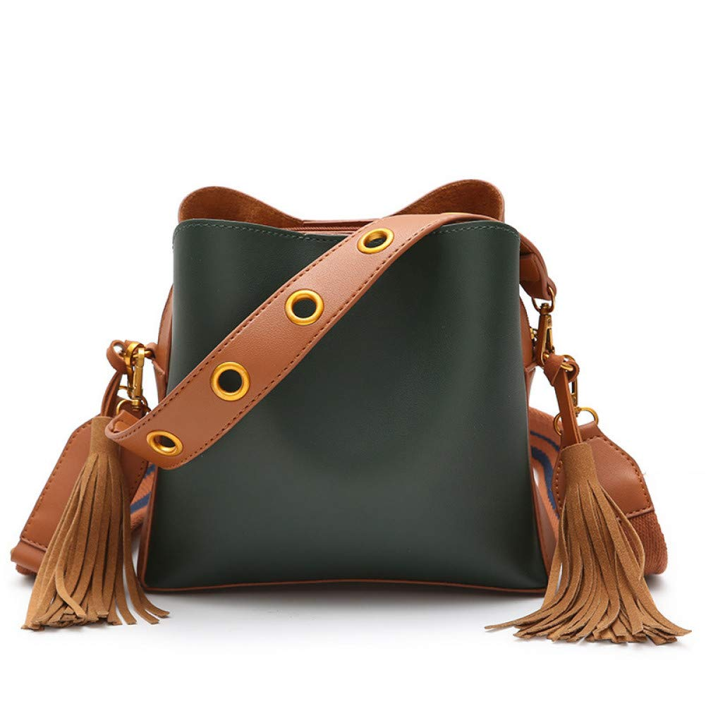 Shoulder bag green LHKFNU Girls Fashion Beautiful Shouder Bags Ladies Designer Messenger Bucket Handbags for Women Totes Cross Body Bag with Tassel