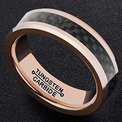 Bishilin 6mm Stainless Steel Wedding Bands Mens Tungsten Carbon Fiber Rose Gold Black Rings Size:8
