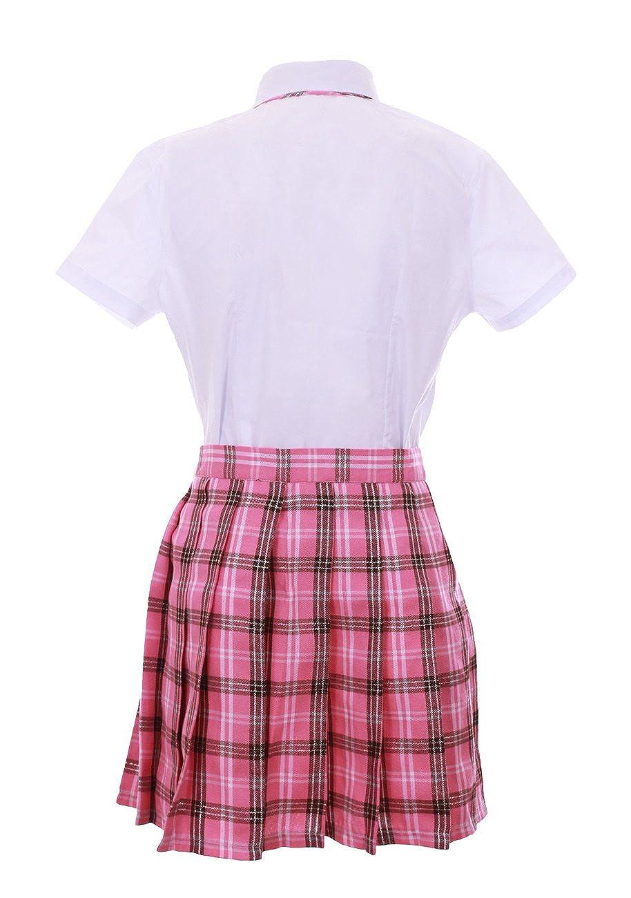 JapanAttitude Traje Adolescente Japonesa Coreana Rosa escocés ...