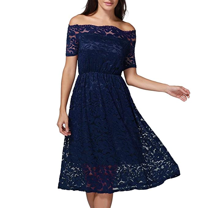 OverDose Vestido de fiesta de manga corta vestido de fiesta formal de encaje de las mujeres