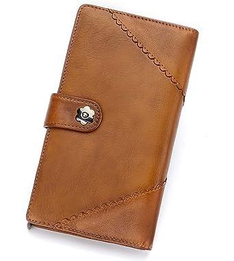 3f358d9b2956 Women Wallet real genuine Leather long Purse Clutch vintage cowhide ...