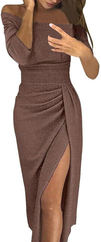 Robe A Epaules Denudees Longue Maxi Robes De Soiree Femme Moulante Fendue Asymetrique Manches Longues Dress Bringbring Amazon Fr Vetements Et Accessoires