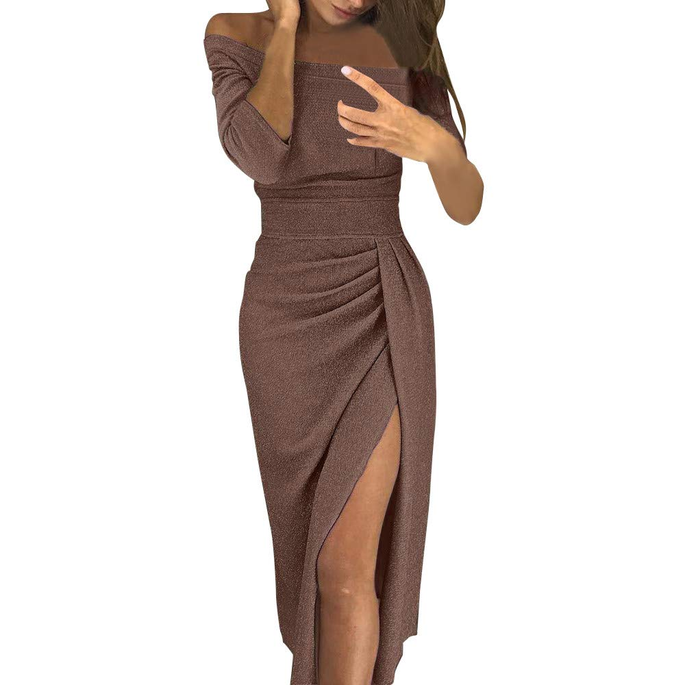Women Off Shoulder Dresses Ruched Metallic Knit High Slit Bodycon Dress Evening Party Cocktail Dress(Coffee,S)