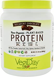 Natural Factors - Raw Organic Vegan Protein, Gluten Free, Dairy Free & Non-GMO, Decadent Chocolate, 15 Servings (17 oz)
