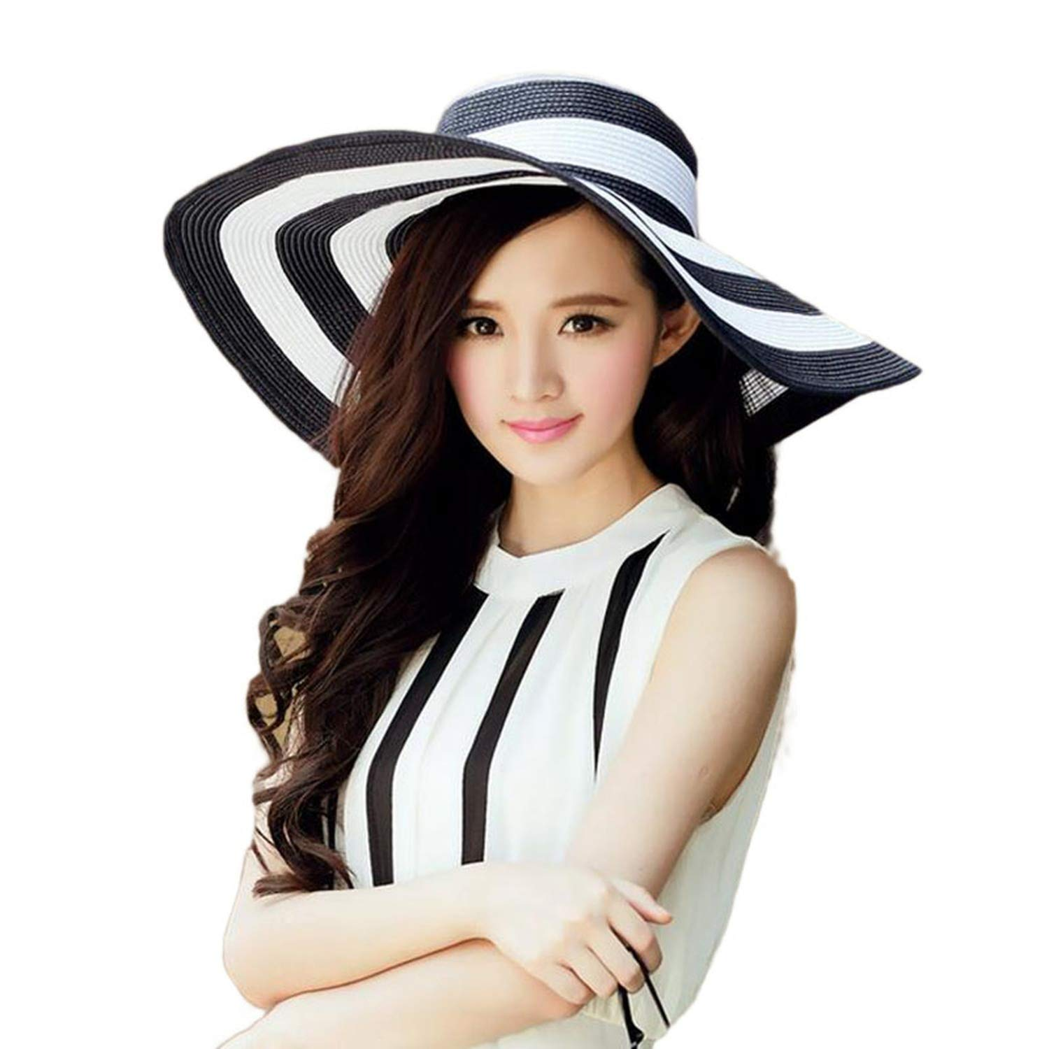 Womens Straw Sun Hat Black Striped Overflowed Fashion