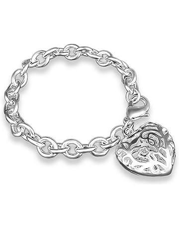 8a6e49925c33 Hosaire 1x Pulsera Mujer de Plata Hueco Forma de corazón Regalos Para Las  Mujeres accesorios de