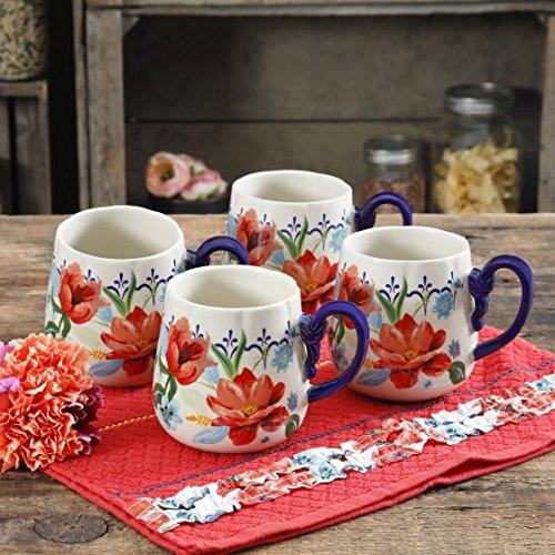 Pioneer Woman Spring Bouquet 19oz Cups Coffee Tea Mug Set of 4