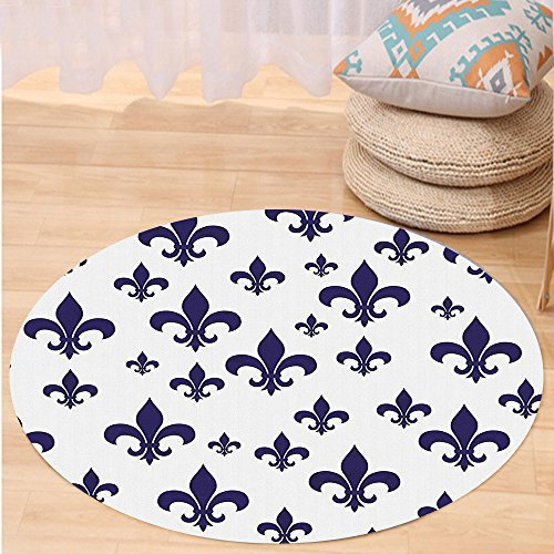 VROSELV Custom carpetNavy Blue Decor Collection Various Sized Classic Fleur de Lis Patterns Royal Retro Style Antique Decor Living Bedroom Living Room Dorm Gray Dark Blue Round 34 inches