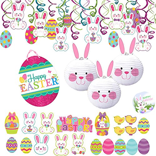 Easter Party MEGA 65 Piece Decoration Pack with 30 Swirl Decorations, 30 Easter Cutouts, 3 Bunny Hanging Lanterns, 1 Easter Egg Glitter Sign, and 1 EXCLUSIVE Happy Easter Button