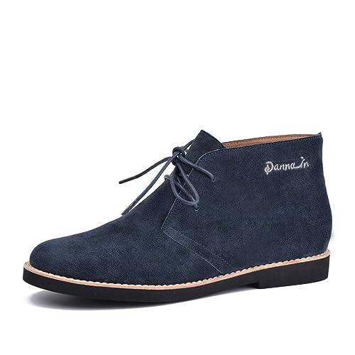 Botines para Mujer Zapatos Casuales de Cuero Genuino con Cordones y Botines Planos: Amazon.es: Zapatos y complementos