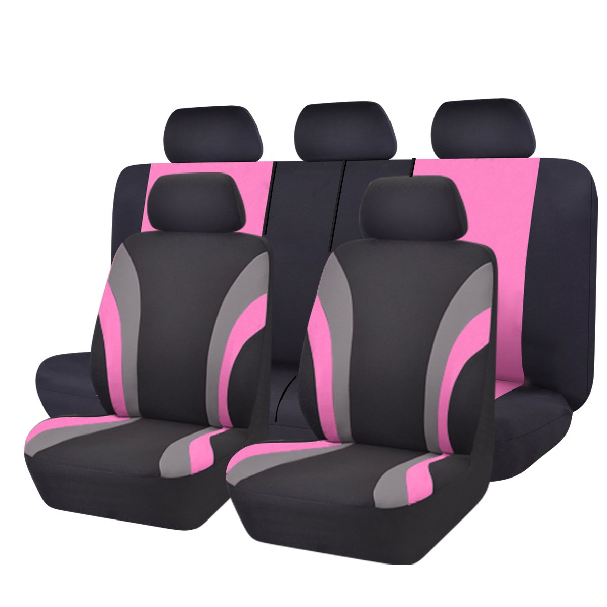 NEW ARRIVAL- CAR PASS Line Rider 11PCS Universal Fit Car Seat Cover -100% Breathable With 5mm Composite Sponge Inside,Airbag Compatible (Black And Rose Red) by CAR PASS