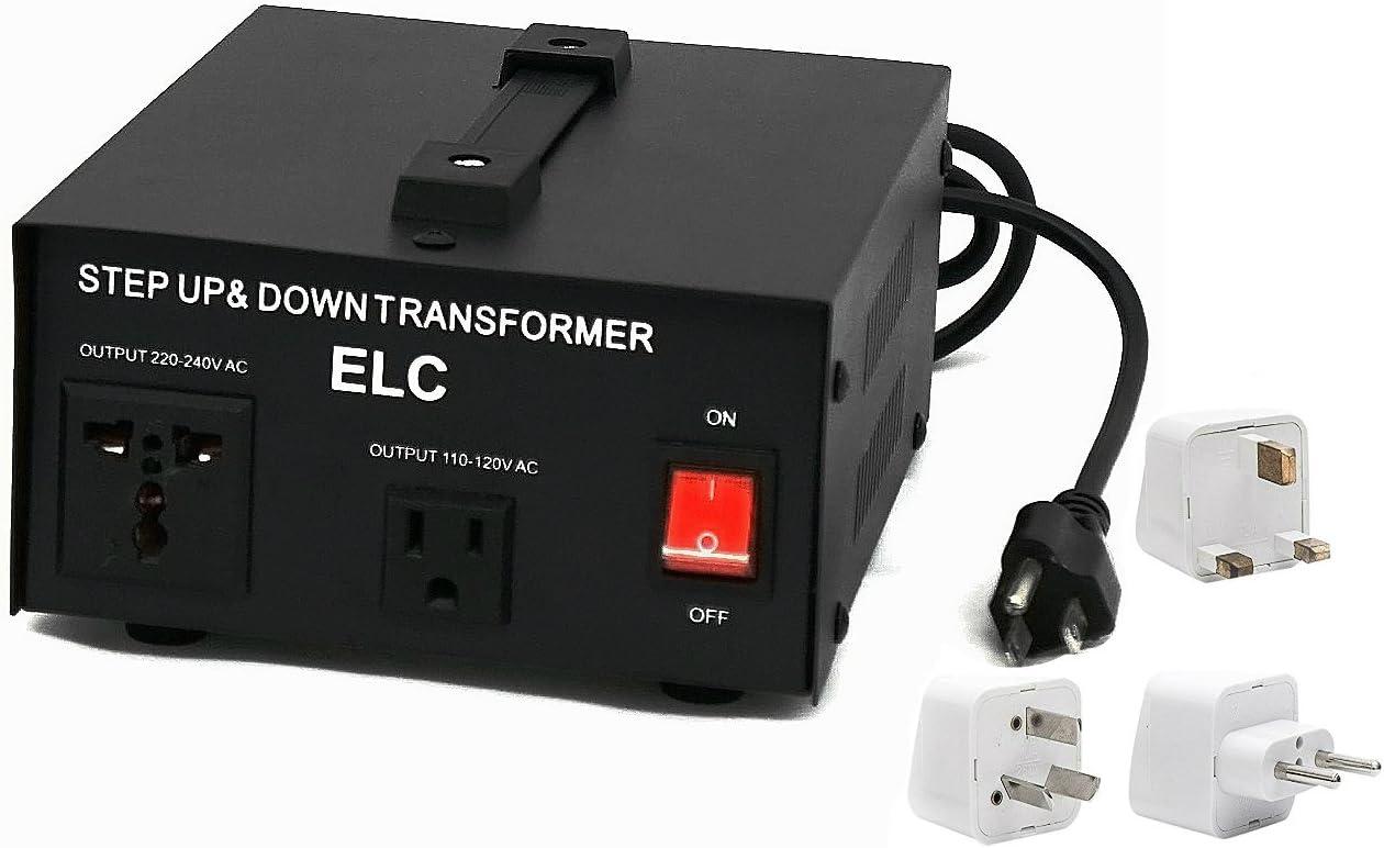 1000 Watt Best International Power Voltage Converter Transformer - Step Up/Down - 110V/220V - with Worldwide UK/US/AU/EU European Plug Adapter - 2 Outlets 61q5E6WhTCL