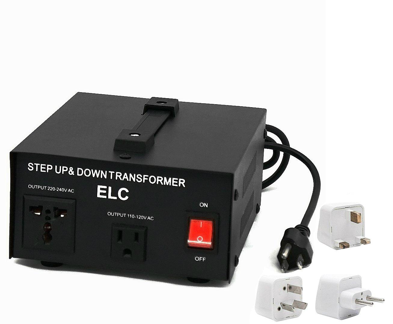 1000 Watt Best International Power Voltage Converter Transformer - Step Up/Down - 110V/220V - with Worldwide UK/US/AU/EU European Plug Adapter - 2 Outlets