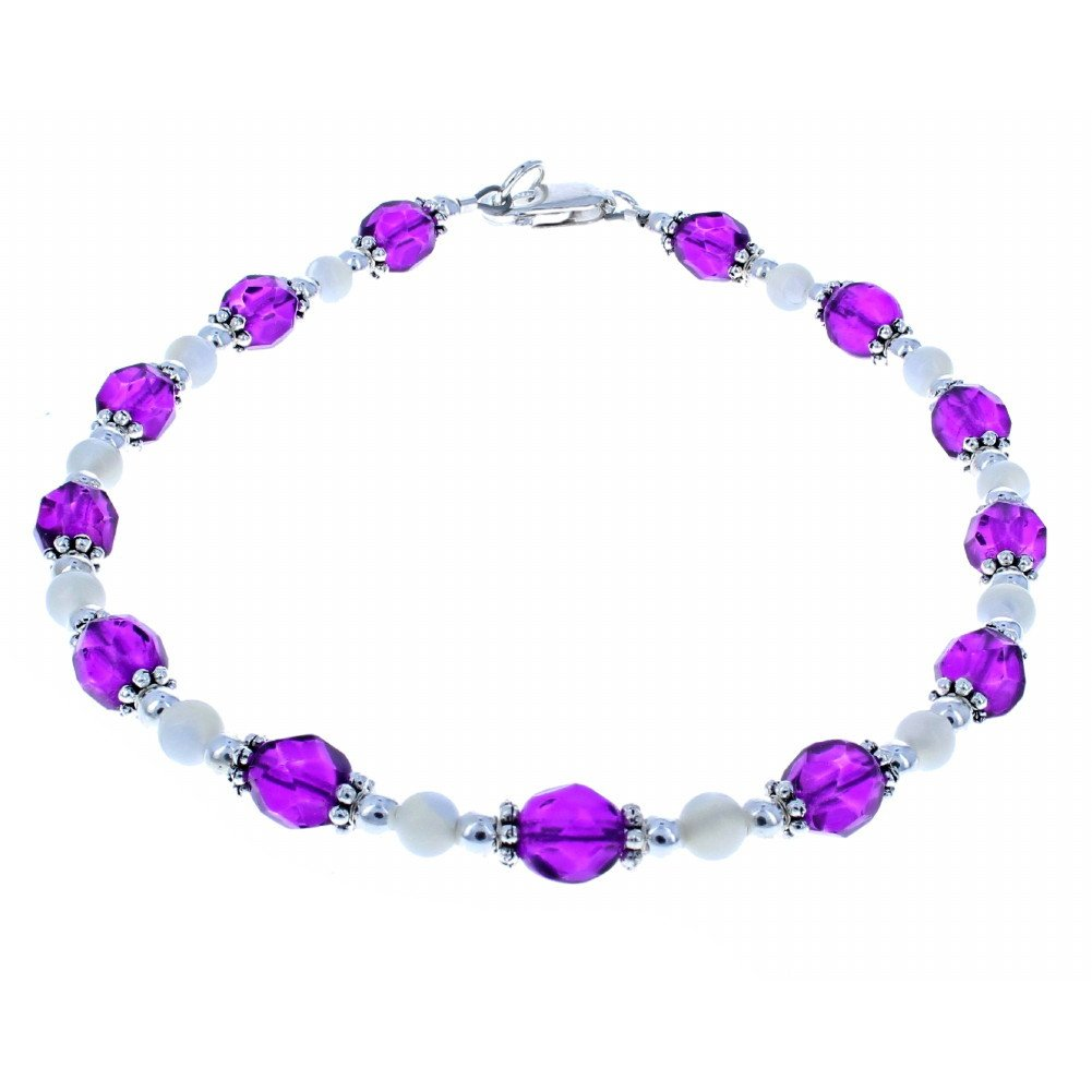 Timeless-Treasures Womens Violet Czech Fire Polished Glass, Mother of Pearl & Sterling Silver Beaded Anklet w/Daisies - 12''