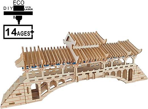 ZUOQUAN 3D Madera Puzzle Puente Cubierto, 3D Rompecabezas De ...