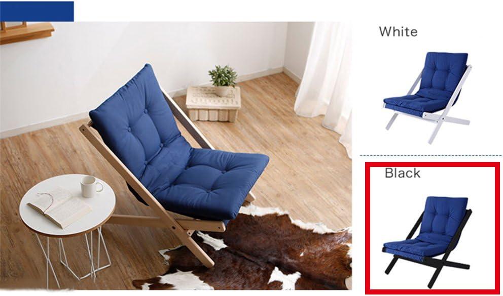 Tumbona PHTW HTZ Sofá Plegable de Madera Maciza Silla Plegable Estilo nórdico Silla de Haya A++ (Color : Azul, Tamaño : C)