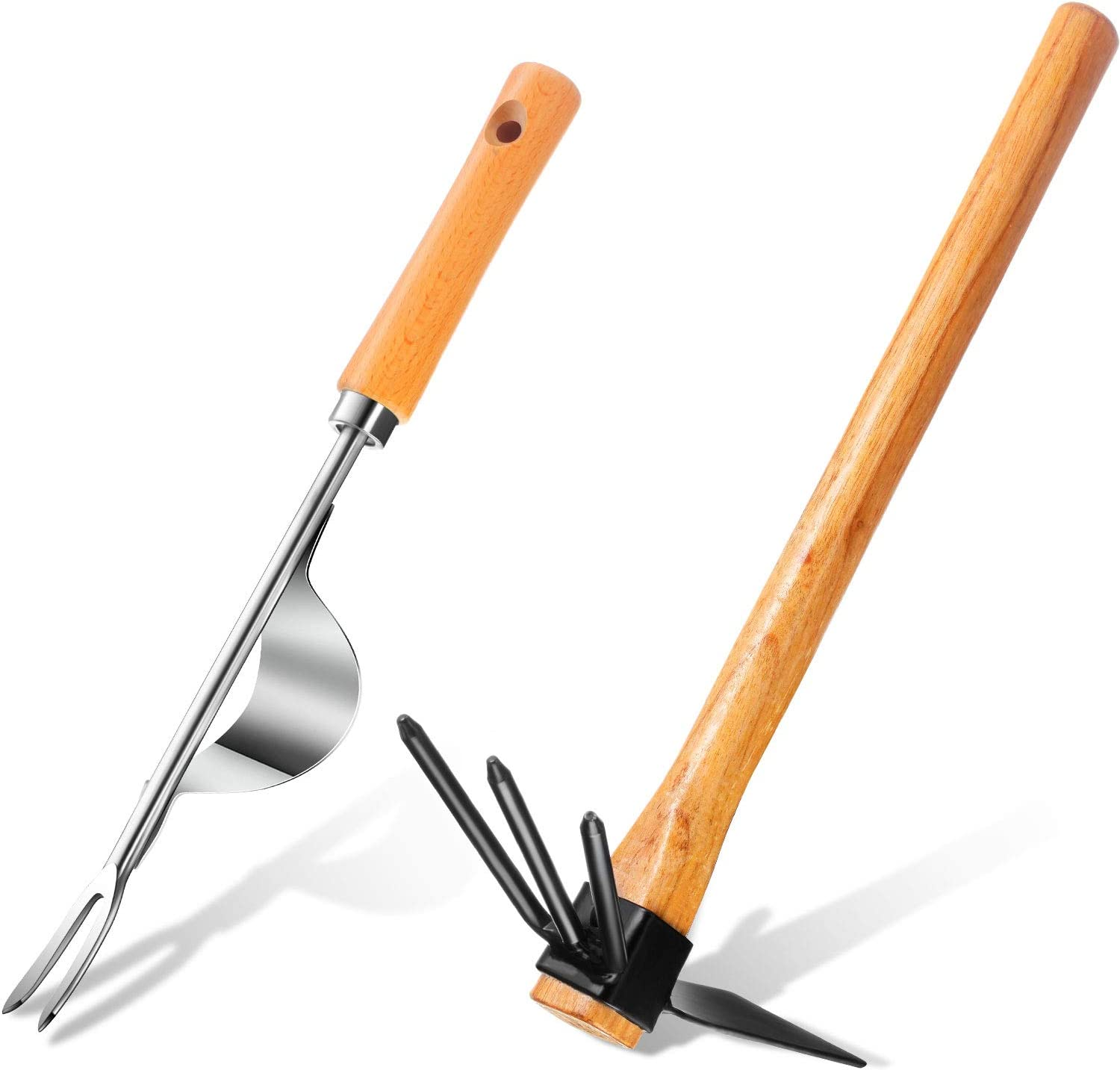 ZaRoing 2-in-1Hoe and Cultivator Hand Tiller Rubber Grip Handle/&Anti-Rust Planting Weeding Gardening Shovel Plant for Gardening Digging Heavy Duty Lawn Garden Tools for Loosening Soil