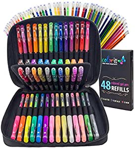 ColorIt Gel Pens For Adult Coloring Books – Premium Ink Gel Pens Set With Case Includes 96 Artist Quality Coloring Pens: 24 Glitter, 12 Metallic, 12 Neon Plus 48 Matching Refills For 96 Total Pens