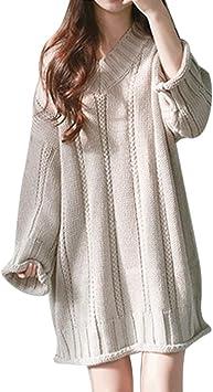 YJYdada suéter de Mujer, Cuello en V, Manga Larga, de Lana, Suelto ...