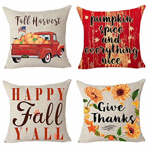 Set of 4 Autumn Fall Harvest Happy Fall Y'all Pumpkin Give Thanks American Flag Truck Wood Grain Sunflower Pillows Cotton Linen Decorative Home Office Throw Pillow Case Couch Cushion Cover 18X18