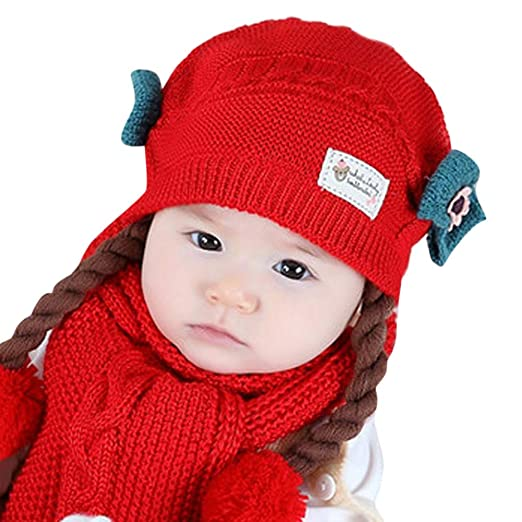 385acce47e7 Amazon.com  Baby Girls Pompom Beanie Hat Props Crochet Knitted Braid ...