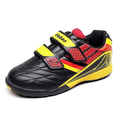 74f7c6d42 Tiebao Boys Classic Hook Loop Soccer Sneakers Professinal Football Shoes  Kids Junior Size Black-Yellow