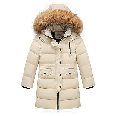 9fb5279e2c75a Riou Kinder Baby Lang Daunenjacke mit Pelz Ultraleicht Wintermantel Winter  Warme Jungen Mädchen Jacke mit Kapuze