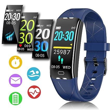 Pulsera Actividad Hombre Mujer - Pulsera Actividad Inteligente Reloj GPS Temporizador Podómetro Pulsómetro Impermeable IP68 Pulsera Deportiva ...