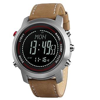 68fe595ffe メンズデジタルスポーツウォッチコンパス付き歩数計高度計バロメーターMilitary防水腕時計 ブラックブラウン
