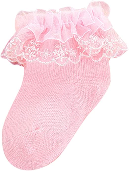 3 pairs BULK New Girls Kids White or Pink Cuff Laces Socks fits 1-3 Years Old