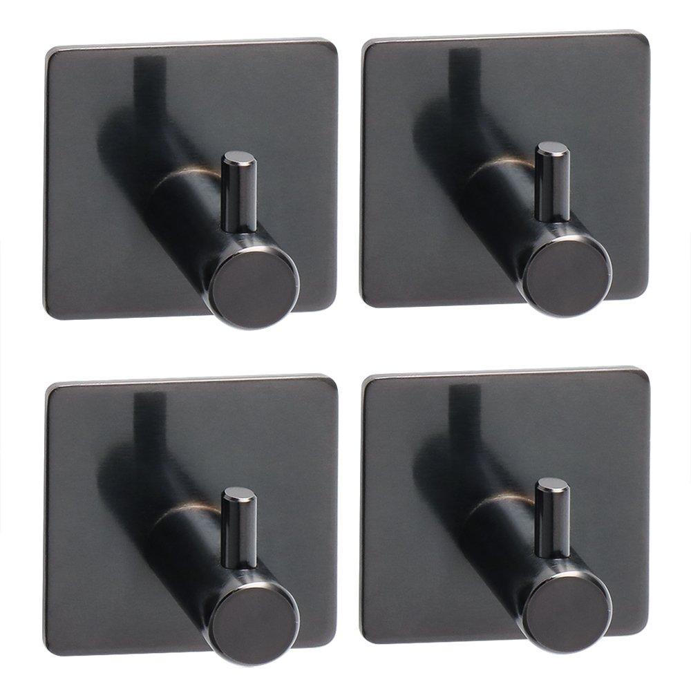 Alise 3M Self-Adhesive Hook Coat Hook Single Towel Clothes Hook for Bath Kitchen Garage,SUS 304 Stainless Steel Black 4 Pcs