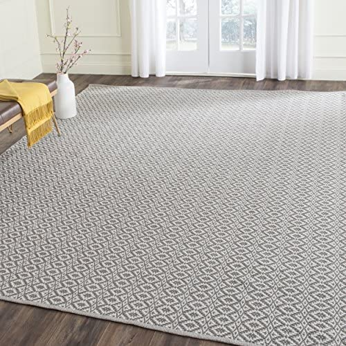 Safavieh Montauk Collection MTK716A Handmade Flatweave Ivory and Grey Cotton Area Rug 9 x 12