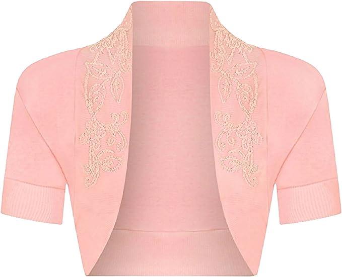 M Islander Fashions Womens Beaded Bolero Crop Open Shrug Ladies Manica Corta Fancy Cardigan Top S L