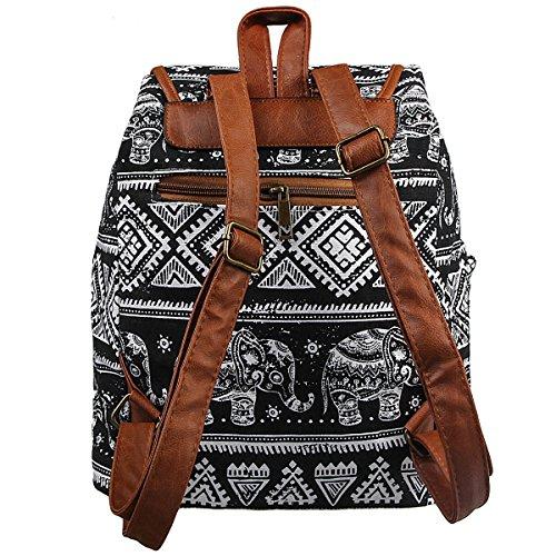 Printed Retro Xidan Backpack Leisure Canvas Elephant Bag Travel Floral Black FL1 Shoulder tTwq5w4