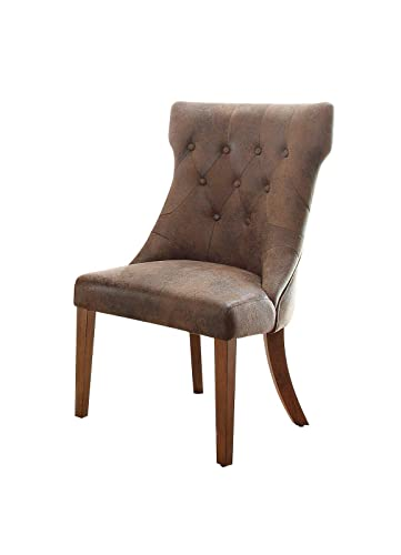 Home Elegance 2526S Marie Louise Side Chair in Weathered Oak – Set of 2