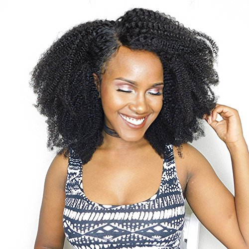 Unprocessed Virgin Mongolian Afro Kinky Curly Human Hair 3 Bundles Hair Weave Weft for Black Women Natural Black(18 20 22 inch) (Best Kinky Curly Weave)