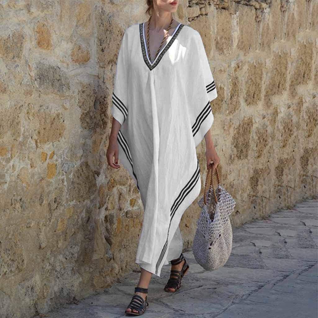 COZOCO Mujer Verano Bohemio Maxi Vestido de Playa Suelta Ocasional Delgado Delgado Asimétrico Manga de Cóctel: Amazon.es: Ropa y accesorios