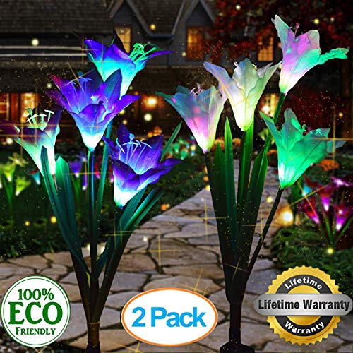 WELIGHT Outdoor Solar Lights – Decorative LED Flowers – Pack of 2 Solar Lilies Patio Décor – Purple & White Solar Powered Garden Decoration Lights -Backyard Lighting – Waterproof Lily Flower