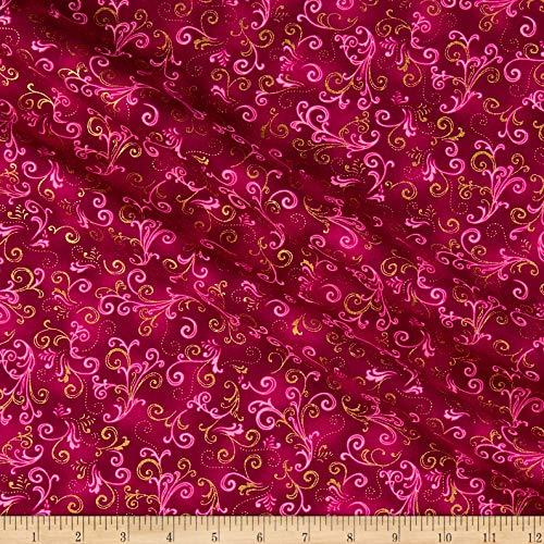 Benartex Kanvas Butterfly Jeweled Scroll , Fuchsia Fabric by the Yard ()