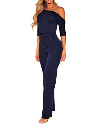 182262c21b0 IyMoo Women s Sexy One Shoulder Tie Waist Wide Leg Long Pants Jumpsuits  Rompers with Pockets Royal